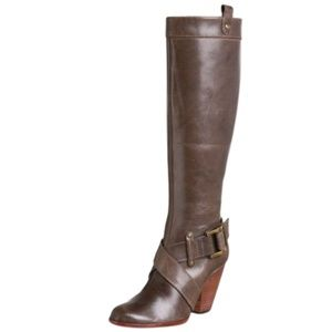 Frye Andrea Belted Tall Boots with Heels Brown 6.5